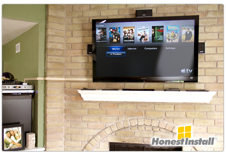 Hide TV Cables On Brick Fireplace